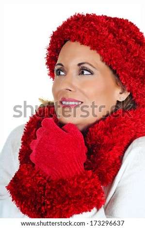 Attractive Mature Woman wearing Red Winter Hat and Scarf - stock photo
