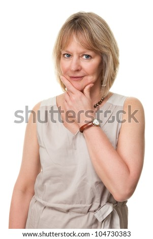 Attractive Mature Woman with Hand to Face and Thoughtful Expression Isolated - stock photo
