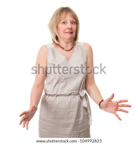 Attractive Mature Woman with Scared Expression Holding Hands Out Isolated - stock photo