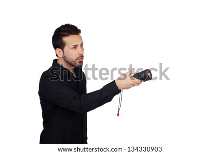 Attractive men in black with a flashlight looking for something on white background - stock photo