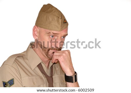 Attractive, mid fifties bearded soldier in uniform in thought, Defense, protection, army concept - stock photo