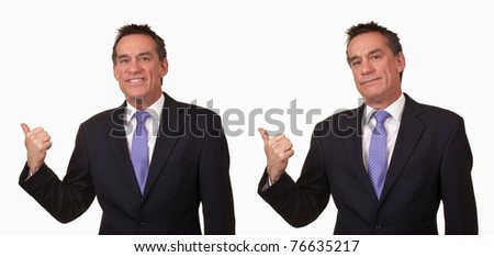 Attractive Middle Age Business Man Gesturing Get Out Two Ways - stock photo