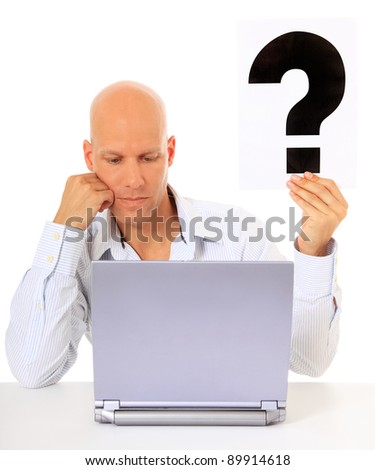 Attractive middle age man got a problem with his laptop computer. All on white background. - stock photo