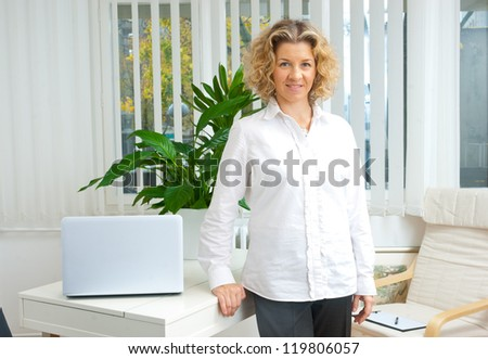 attractive middle aged woman in her office - stock photo