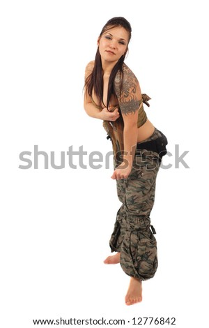 attractive military brunette woman on white background - stock photo