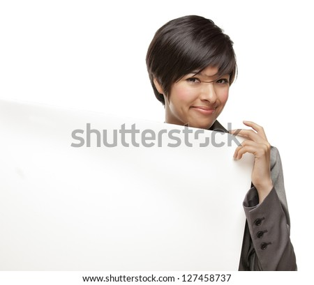 Attractive Mixed Race Young Adult Female Holding Blank White Sign in Front of Her Isolated on a White Background. - stock photo
