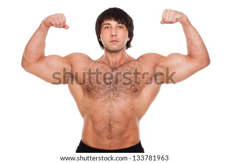 Attractive muscular guy isolated over white background - stock photo
