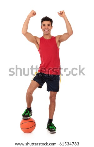 Attractive Nepalese man basketball player happy for his victory . Studio shot. White background. - stock photo