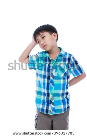 Attractive of asian boy making thinking expression, his hand on head, emotion feeling sign. Isolated on white background. Studio shot. Concept for confusion, inspiration and solution - stock photo