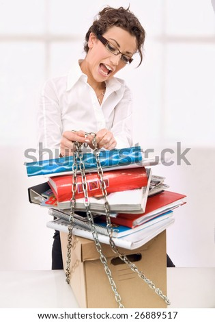 Attractive overworked secretary - stock photo