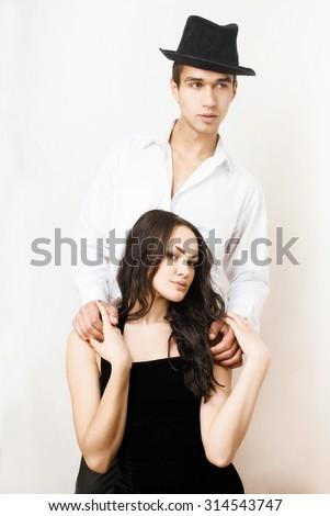 attractive, passionate and sensual couple - stock photo