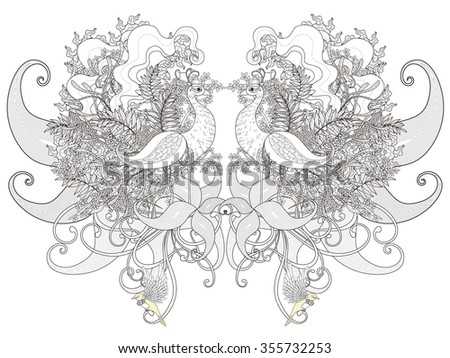 attractive peacock coloring page with floral elements in exquisite line - stock photo