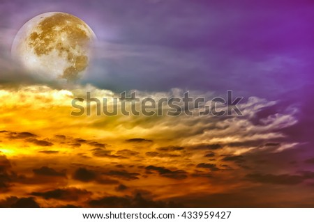 Attractive photo of a beautiful sky with clouds, bright full moon would make a great background. Beauty of colorful nature. Outdoors. The moon taken with my own camera, no NASA images used. - stock photo