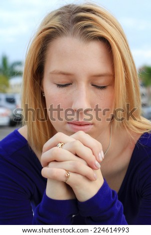 Attractive Professional Business Person Praying Woman Blonde - stock photo