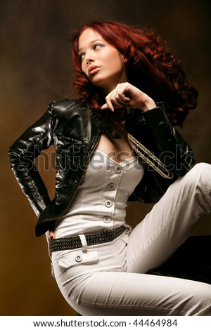 attractive red hair woman fashion portrait, studio shot - stock photo
