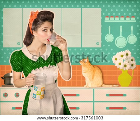 Attractive retro woman drinking glass of fresh milk in her kitchen room.Vintage old poster - stock photo
