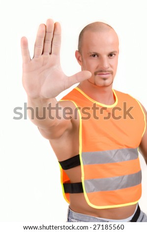 attractive road worker order you to stop now - stock photo