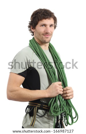 Attractive rock climber posing with harness and cord isolated on a white background              - stock photo