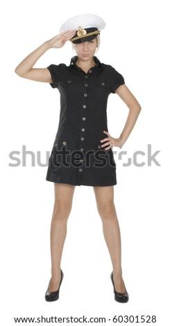 Attractive sailor girl - stock photo
