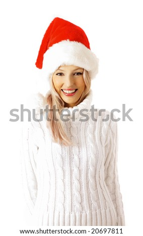 attractive santa claus woman. isolated on white background - stock photo