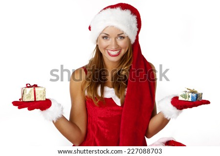 attractive santa woman with box - stock photo