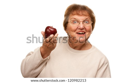 Attractive Senior Woman with Red Apple Isolated on a White Background. - stock photo