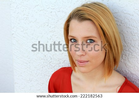 Attractive Serious Business Professional Business Woman College Student Young Teenager Wearing Red Shirt - stock photo