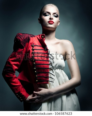 attractive sexy blonde woman in red jacket - stock photo