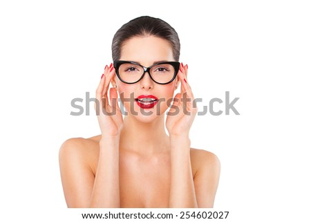 Attractive sexy woman wearing fashionable glasses on white - stock photo