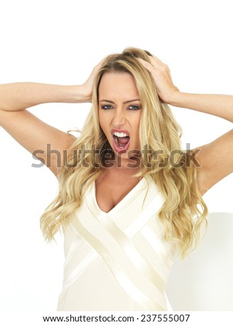 Attractive Sexy Young Woman Screaming - stock photo