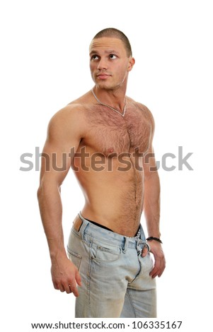 Attractive shirtless male in jeans, isolated on white - stock photo