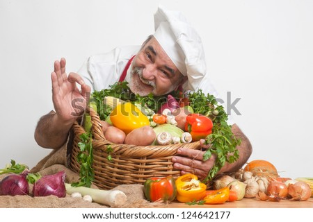 attractive smiling chef - stock photo