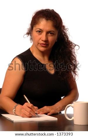 attractive smiling hispanic business woman - stock photo