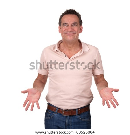 Attractive Smiling Man with Cheesy Grin Holding Hands Forward - stock photo