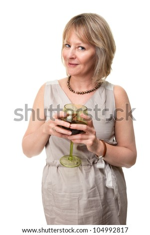 Attractive Smiling Mature Woman Holding Wine Glass Isolated - stock photo
