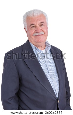 Attractive smiling senior man with mustache and blue blazer without necktie over white background - stock photo