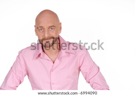 Attractive smiling successful  bearded  middle aged businessman, - stock photo