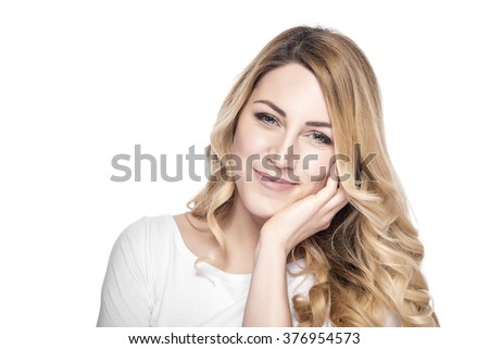 Attractive smiling woman, isolated over white background. - stock photo
