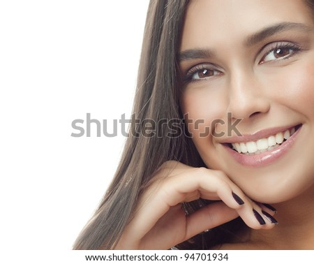 attractive smiling woman portrait on white background brunette looking at camera - stock photo