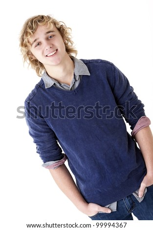 attractive smiling young man - stock photo