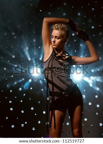 Attractive steam punk girl - stock photo