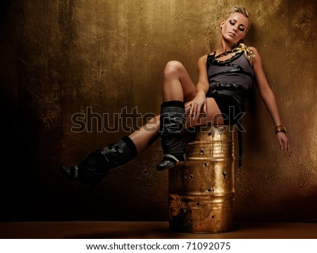 Attractive steam punk girl - stock photo