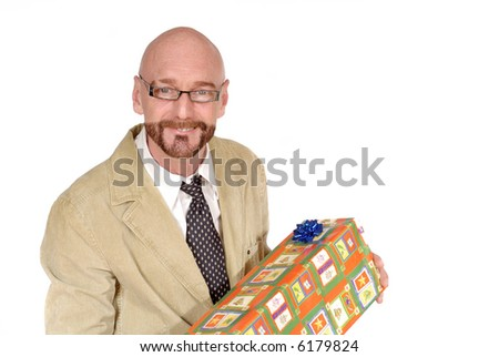 Attractive successful  bearded  middle aged businessman getting promotion gift, happy expression on face - stock photo