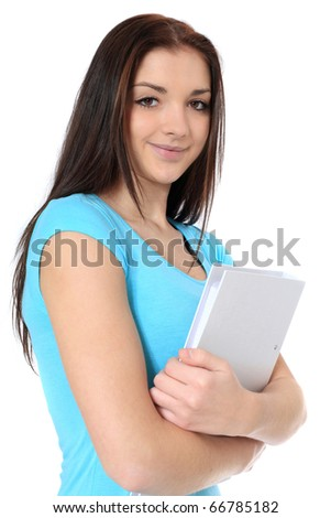 Attractive teenage girl holding her school papers. All on white background. - stock photo