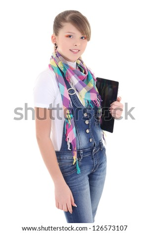 attractive teenage  girl holding tablet pc over white background - stock photo