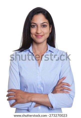 Attractive turkish businesswoman with crossed arms - stock photo