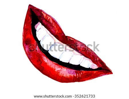 Attractive watercolor handfree illustration of sexy female smiling lips colored in red with snow-white perfect teeth wide smile creative artwork postcard card backdrop cute print, horizontal picture - stock photo