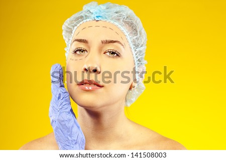 attractive woman before surgery - stock photo