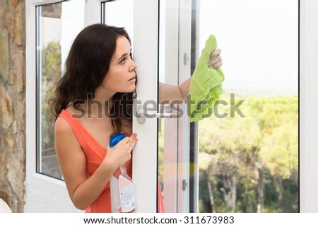 Attractive woman cleaning windows with rag and sprayer - stock photo