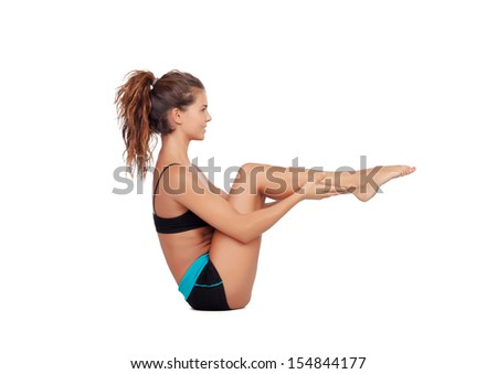 Attractive woman doing exercises isolated on white background - stock photo